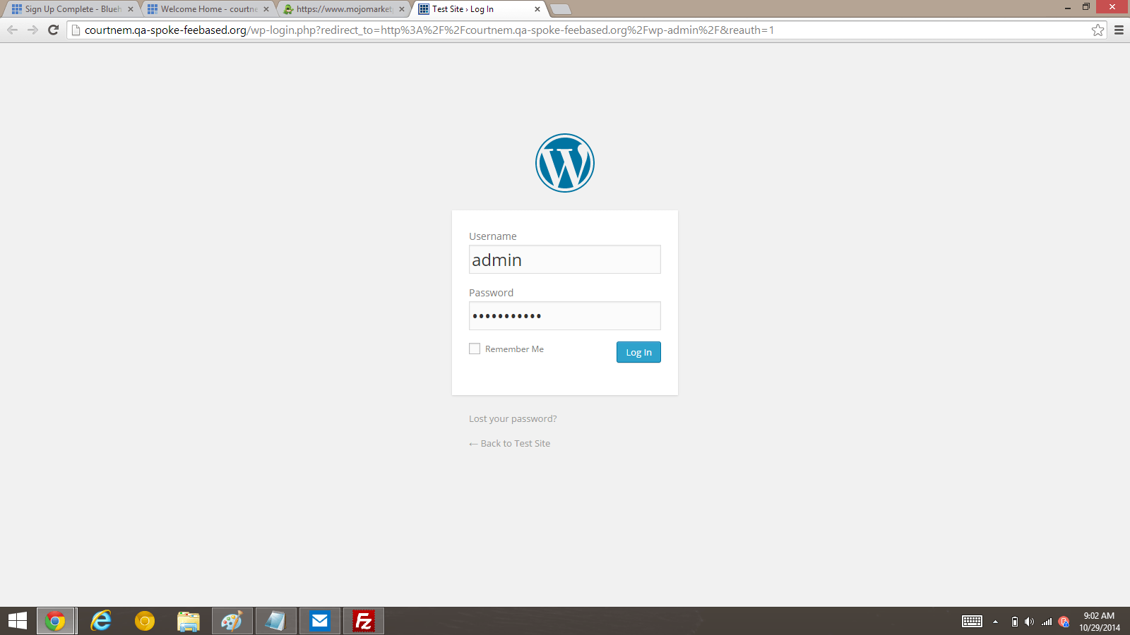 bluehost wordpress admin login