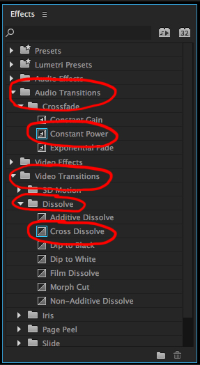 preiere pro how to add fade