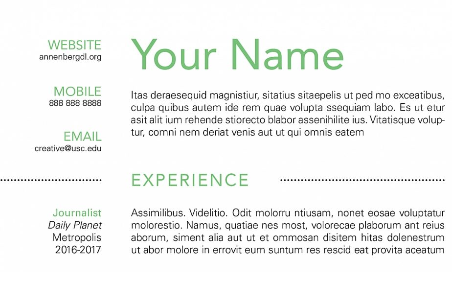 how to create a simple resume using indesign  u2013 annenberg