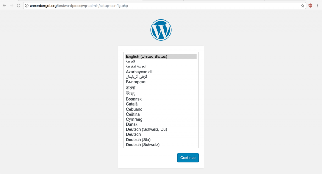 Select the preferred language and click continue