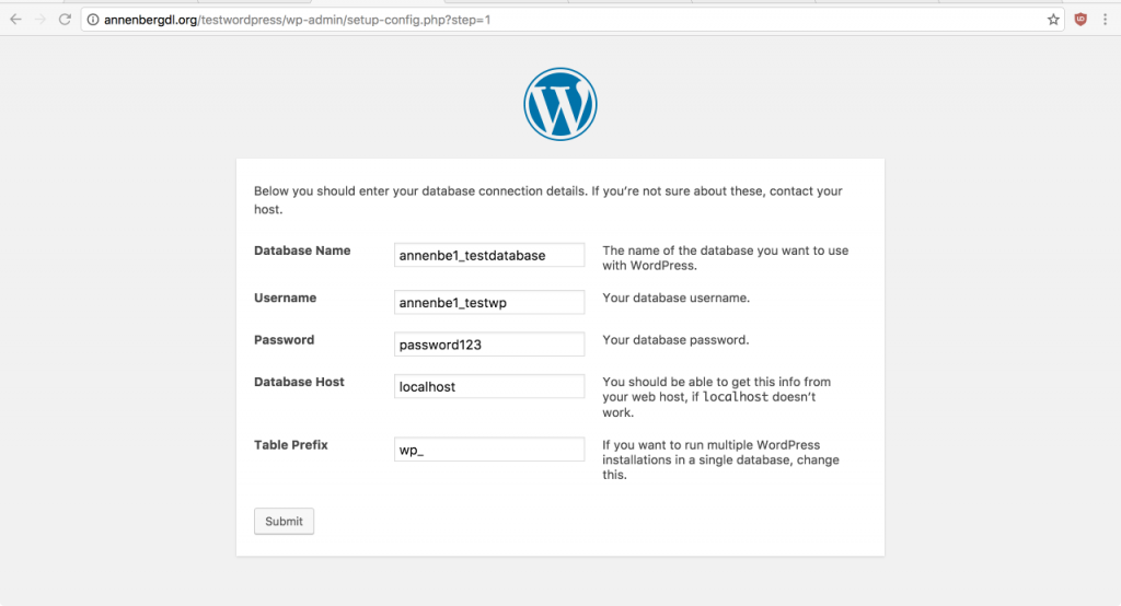 Your WordPress page should look something like this