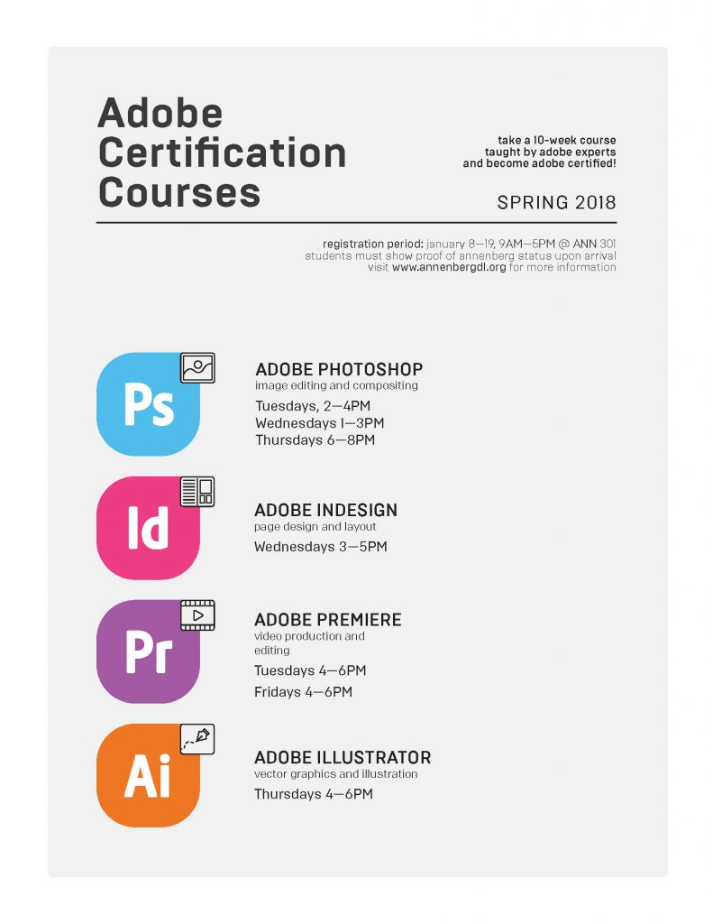 Spring 2018 Certification Courses Annenberg Digital Lounge