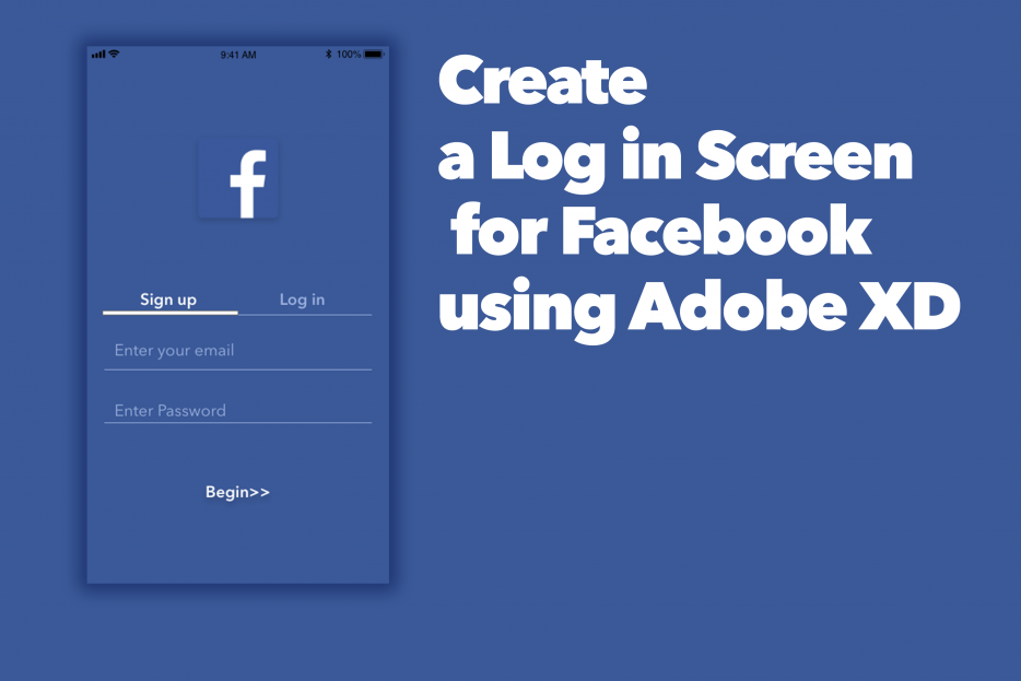 Create a Log in Screen for Facebook App using Adobe XD