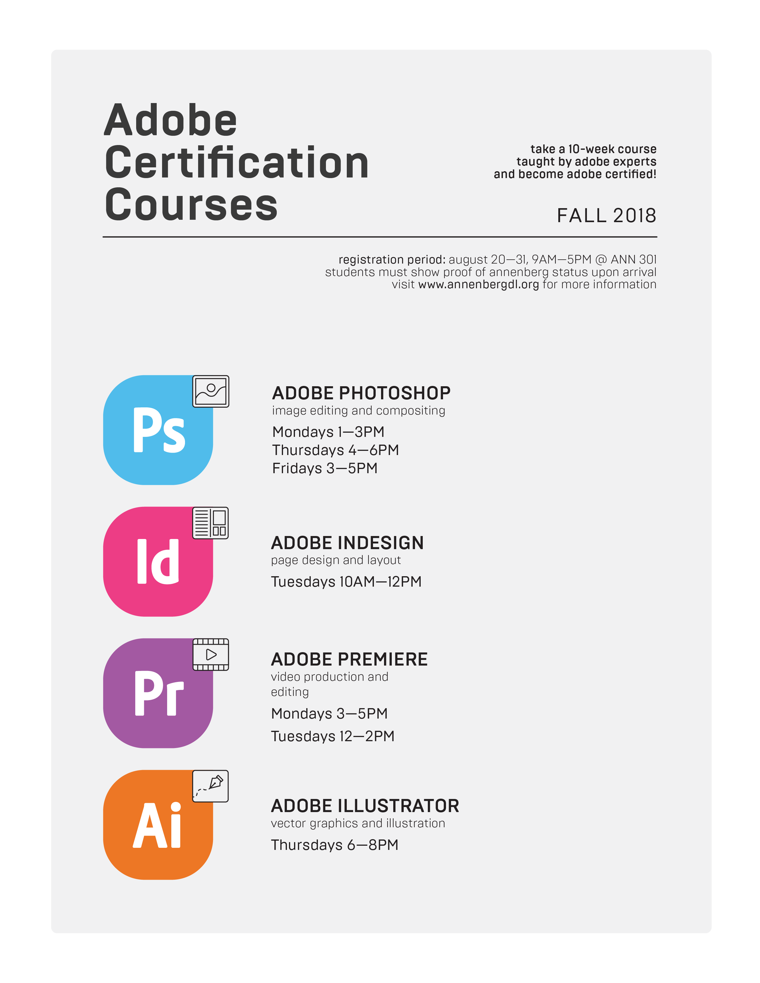 Fall 2018 Certification Courses Annenberg Digital Lounge